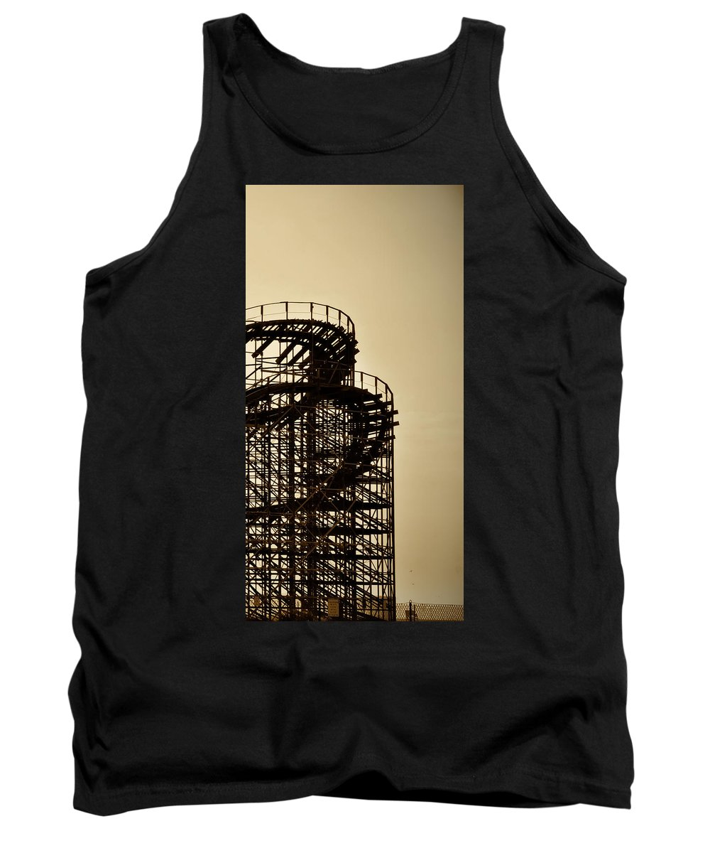 Great White Tank Top featuring the photograph Great White Roller Coaster - Adventure Pier Wildwood Nj In Sepia Triptych 3 by Bill Cannon