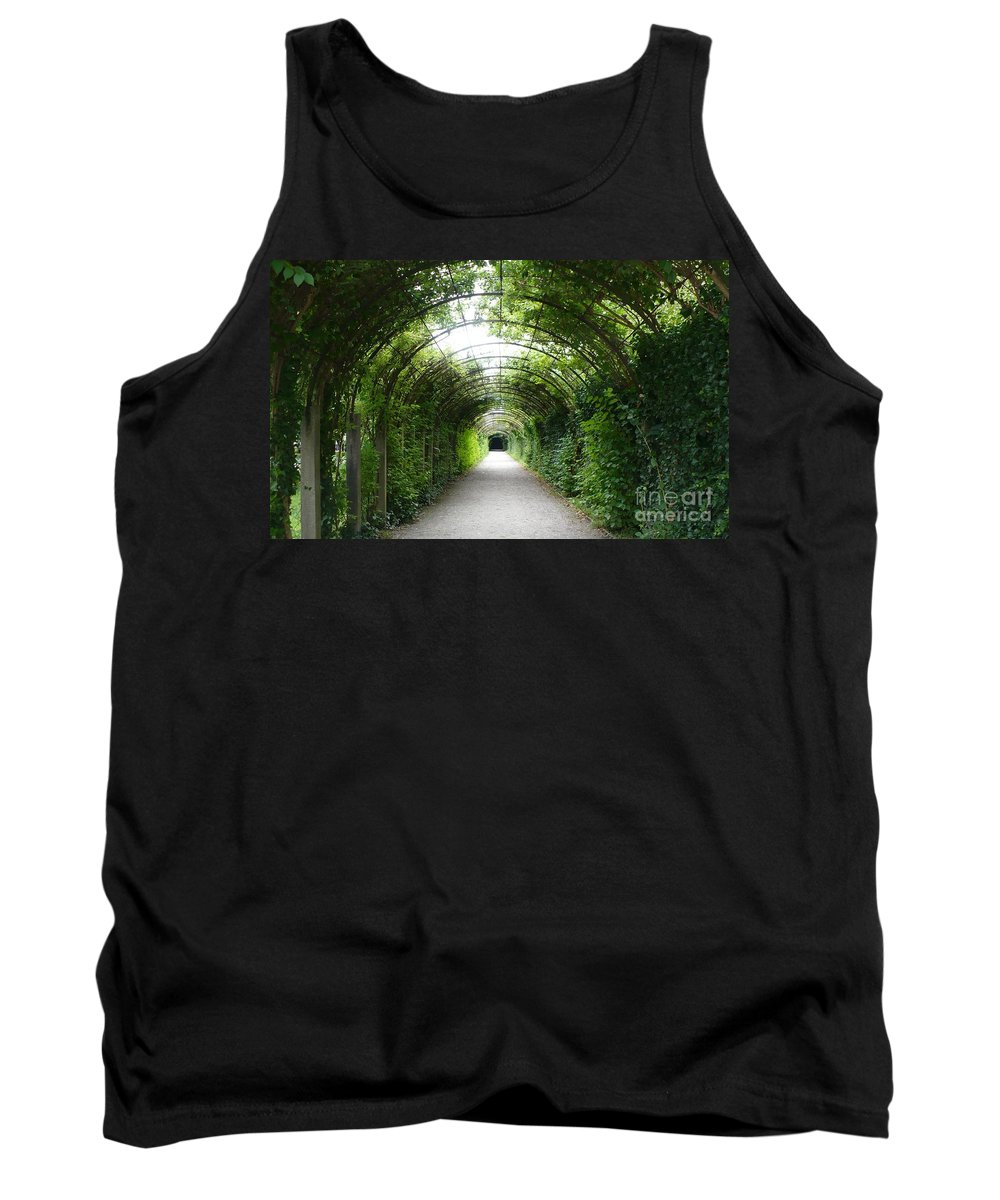 Arbor Tank Top featuring the photograph Green Arbor Of Mirabell Garden by Carol Groenen