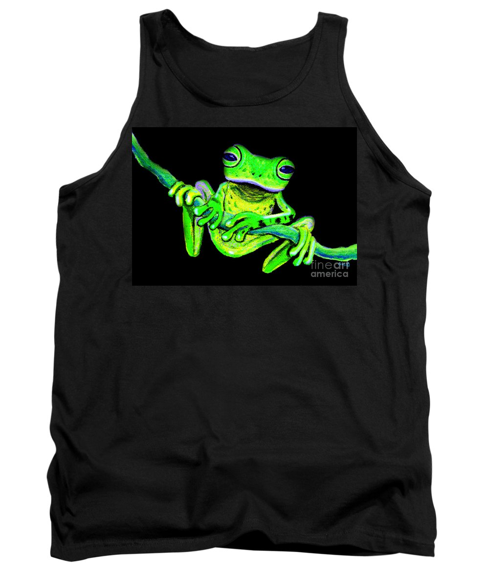 A Green Frog On A Vine Tank Top featuring the painting Green Frog On A Vine by Nick Gustafson