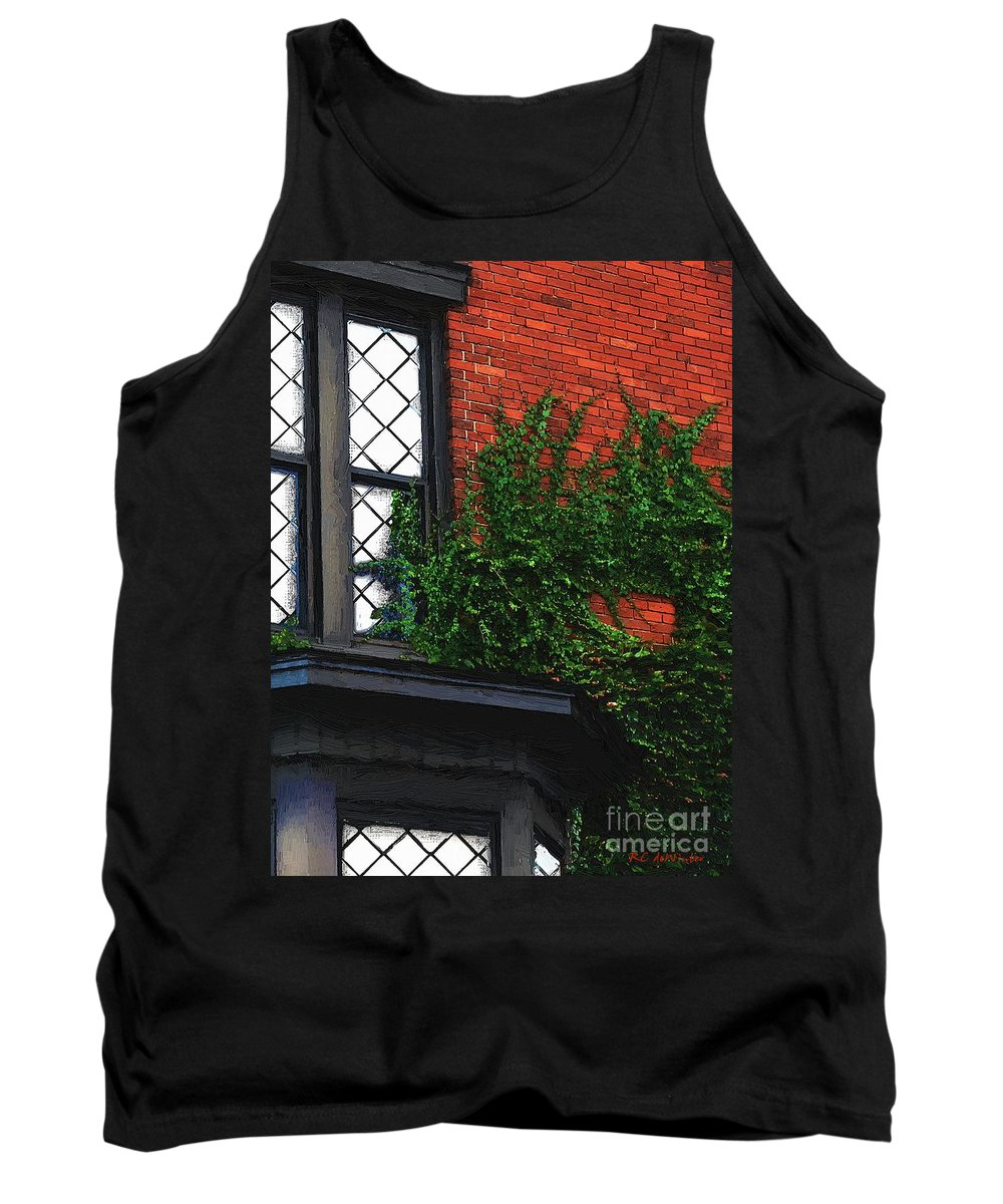 Brick Tank Top featuring the painting Green Ivy Garnet Brick by RC DeWinter