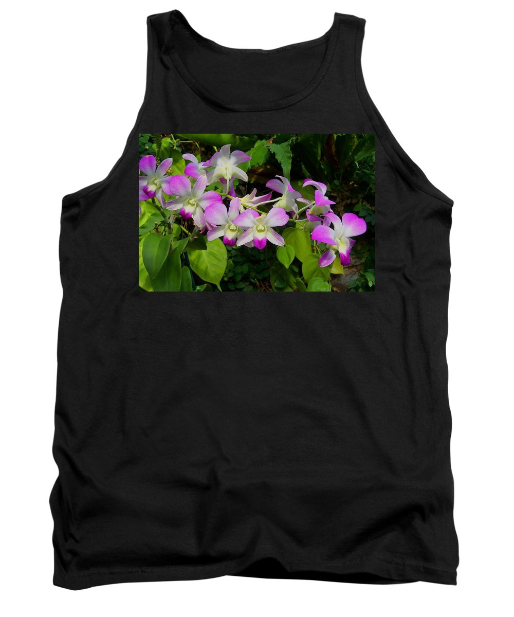 Orchid Tank Top featuring the photograph Green Leaves With Orchids by Laurie Paci