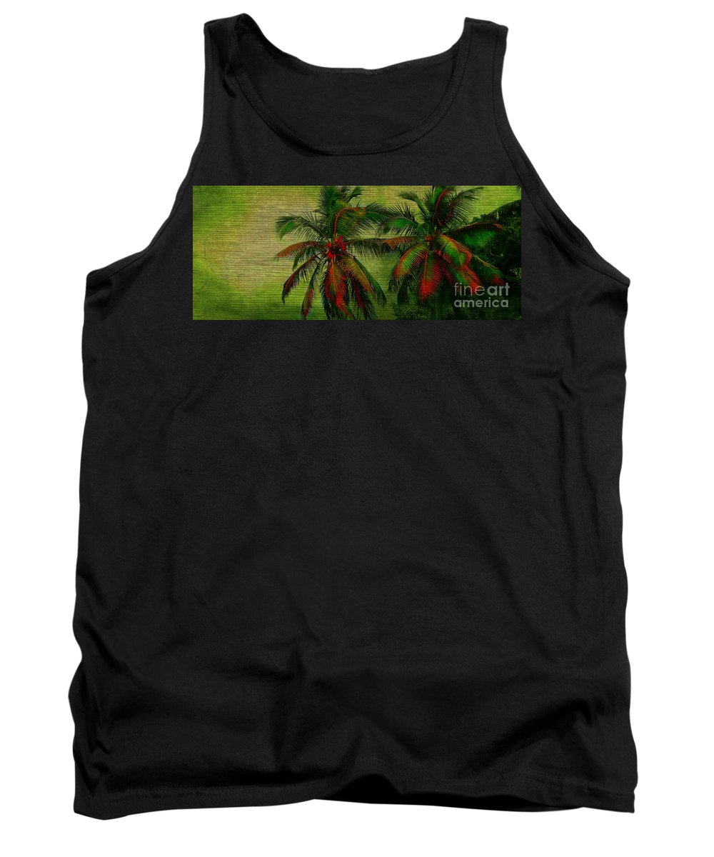 Palm Tank Top featuring the photograph Green Palms by Perry Webster