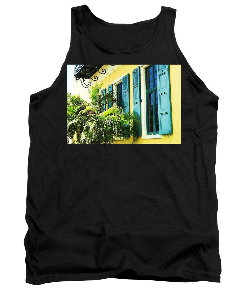 Architecture Tank Top featuring the photograph Green Shutters by Debbi Granruth