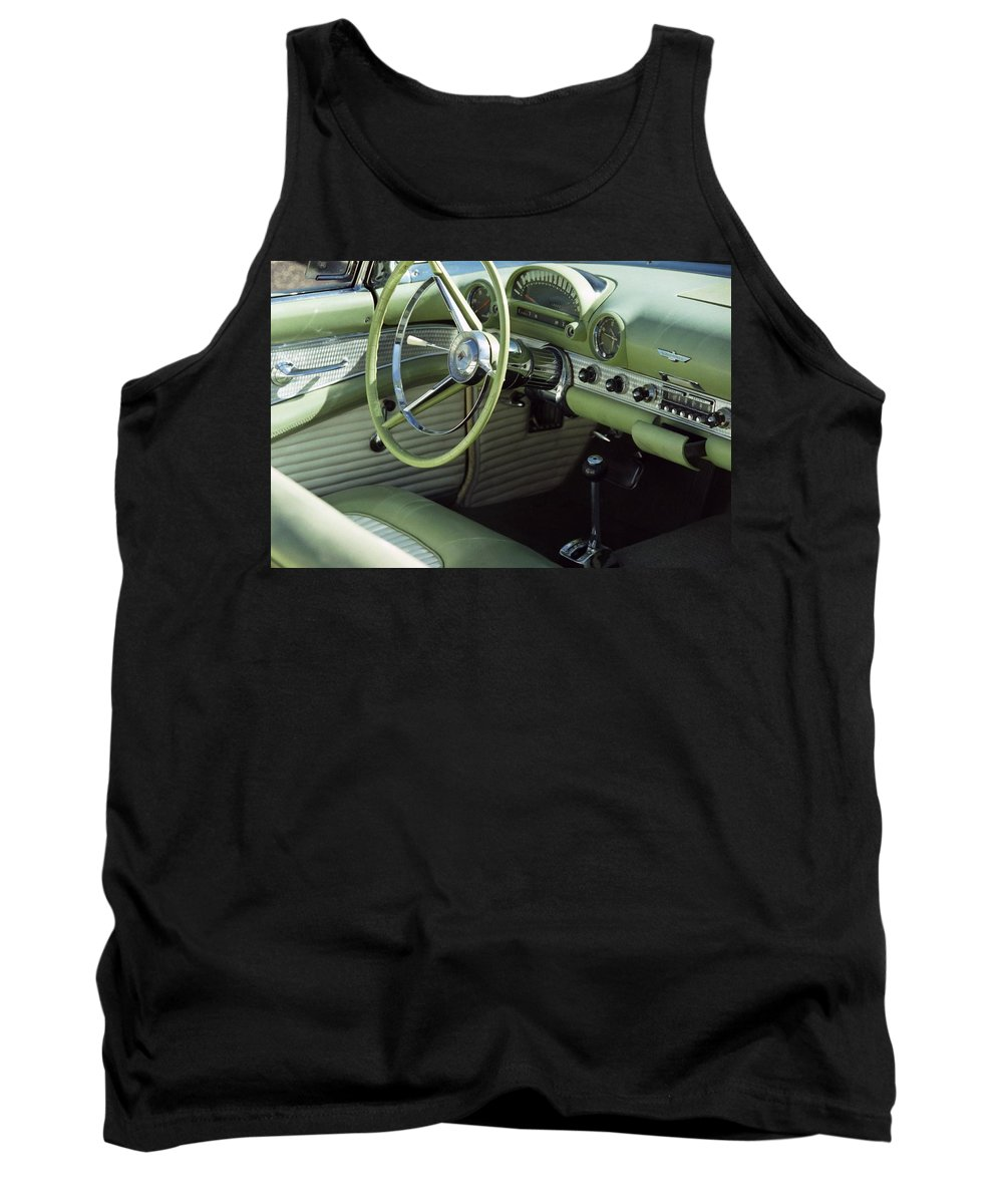 Photography Tank Top featuring the photograph Green Thunderbird Wheel And Front Seat by Heather Kirk