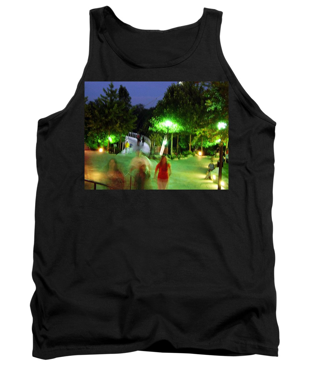 Falls Park Tank Top featuring the photograph Greenville At Night by Flavia Westerwelle