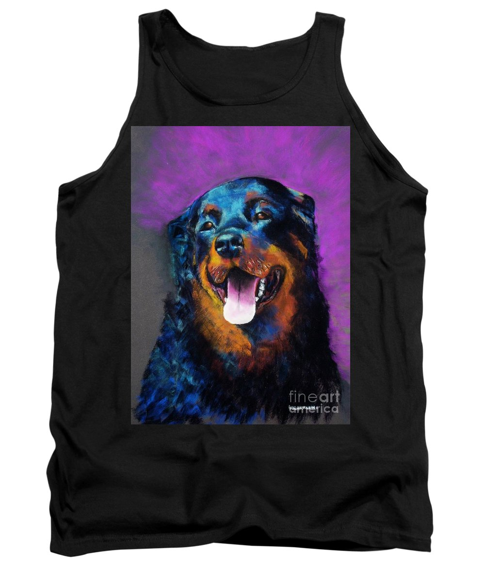Rottweiler Tank Top featuring the painting Gretchen by Frances Marino