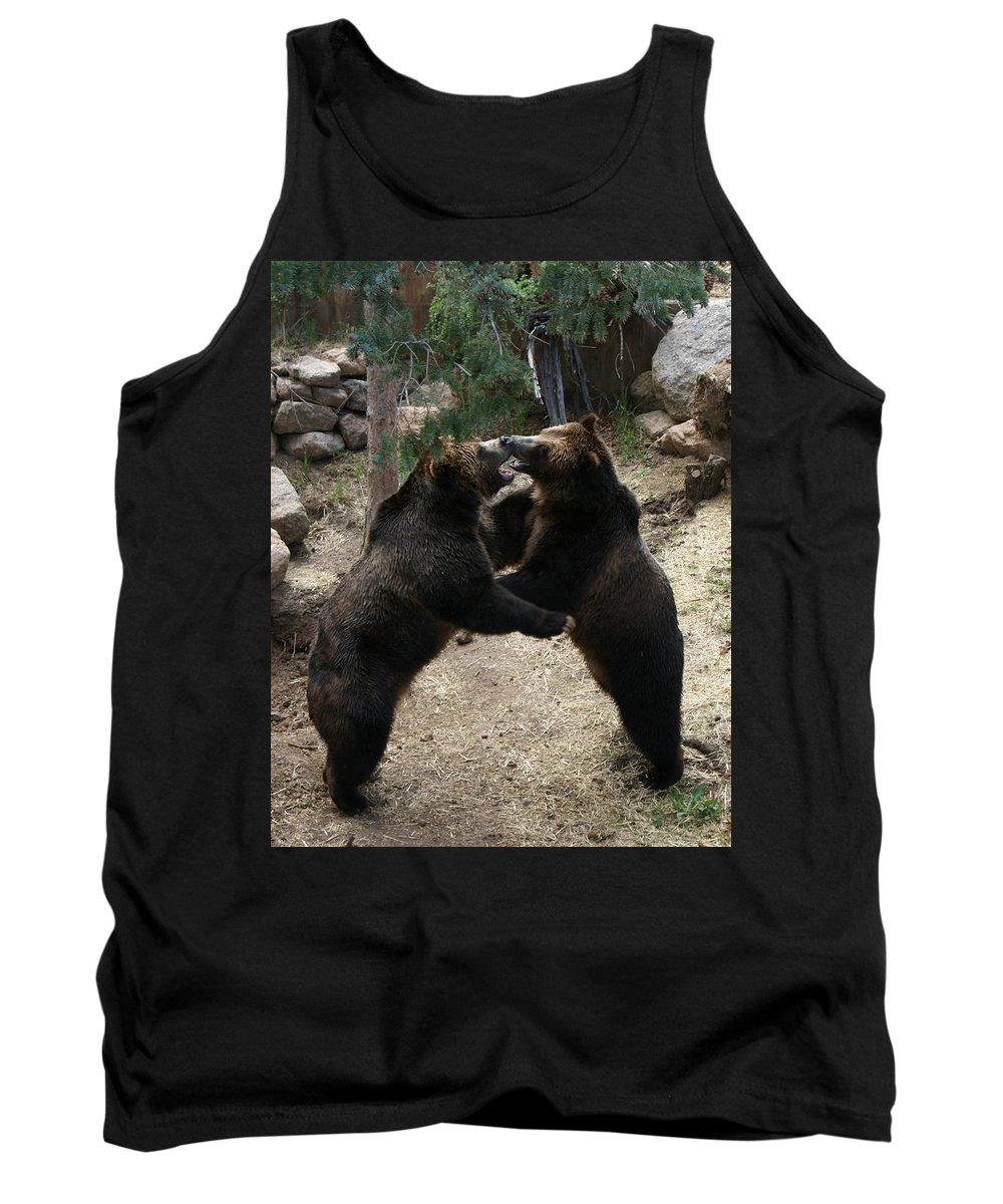 Animals Tank Top featuring the photograph Grizzly Waltz by Ernie Echols