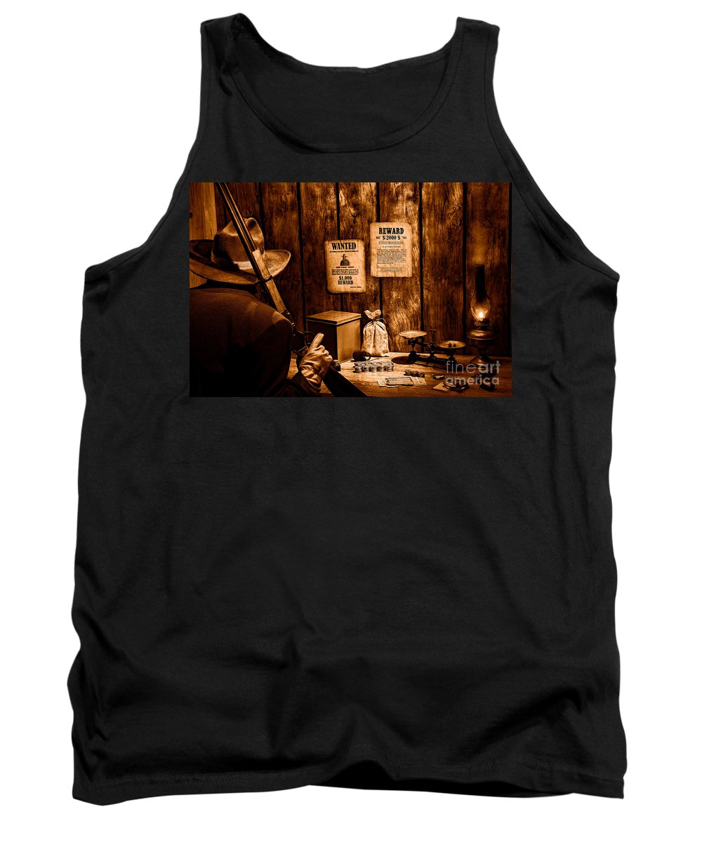 Western Tank Top featuring the photograph Guarding The Payroll - Sepia by Olivier Le Queinec
