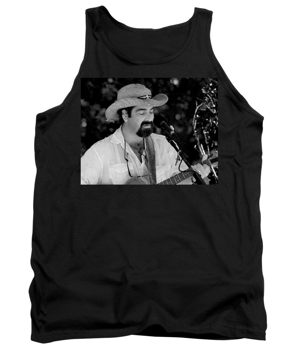 Black And White Tank Top featuring the painting Guitar Man by Michael Thomas