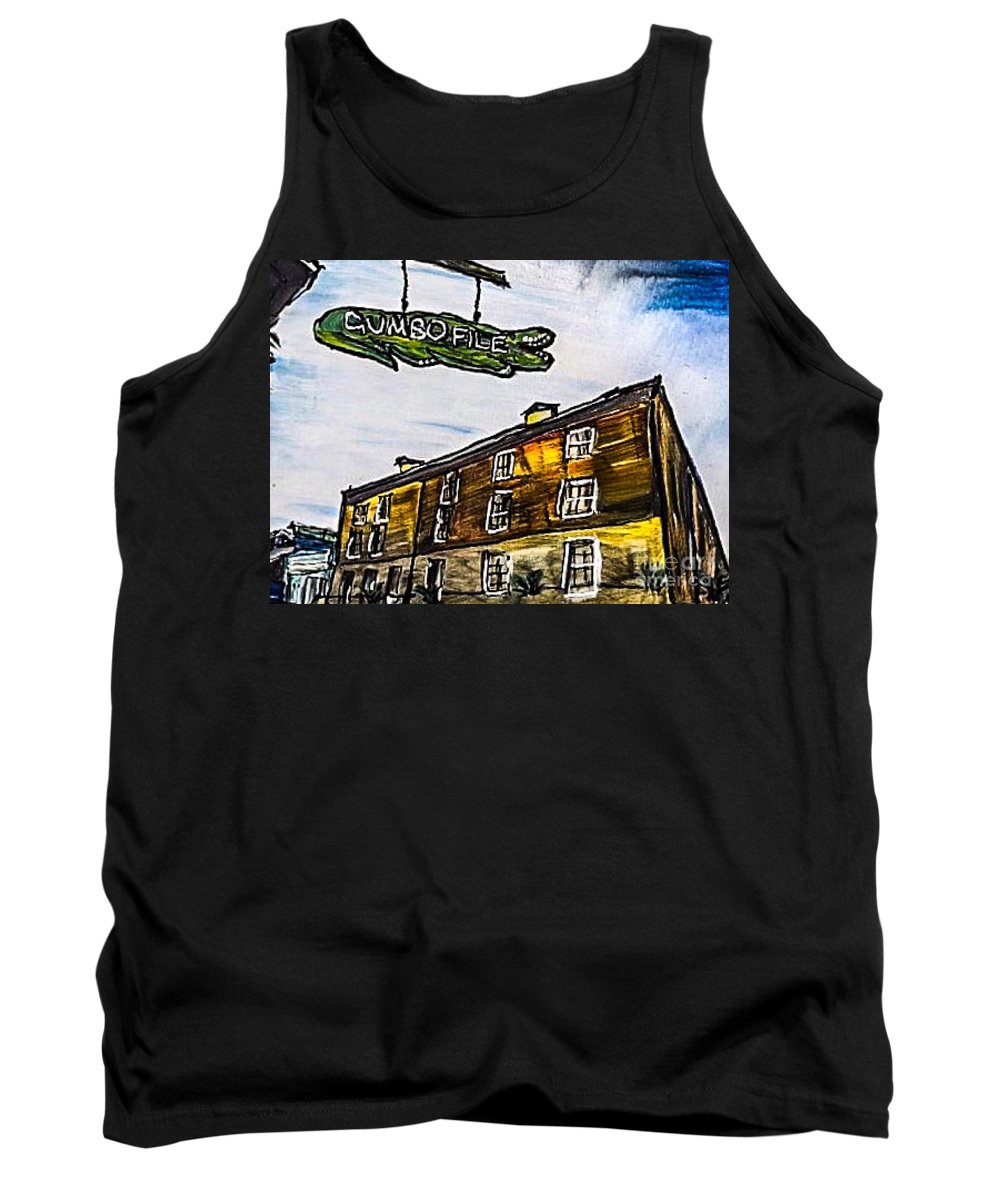 New Orleans Tank Top featuring the painting Gumbo File' by Paula Baker