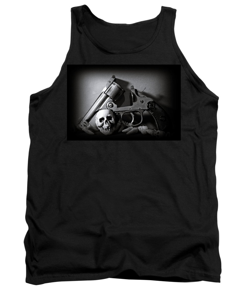 Black And White Tank Top featuring the photograph Gun And Skull by Scott Wyatt