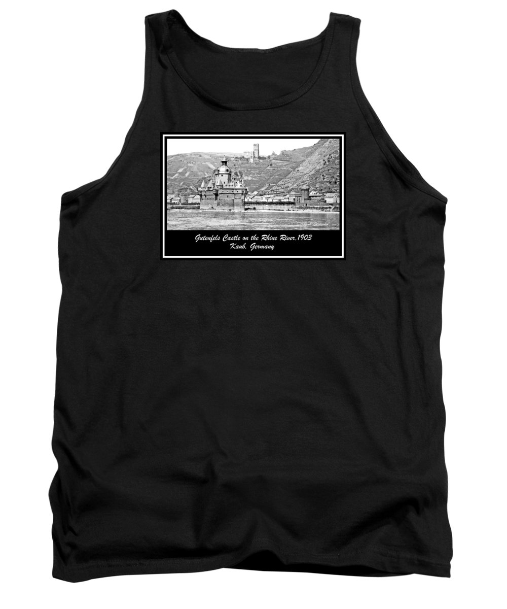 Gutenfels Castle Tank Top featuring the photograph Gutenfels Castle On The Rhine, Kaub, Germany, 1903, Vintage Phot by A Gurmankin
