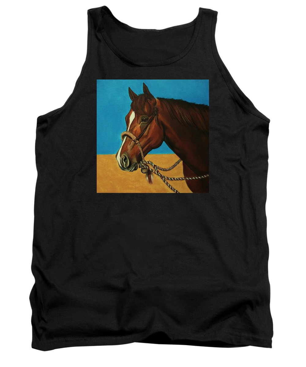 Horse Tank Top featuring the painting Hackamore Horse by Lucy Deane
