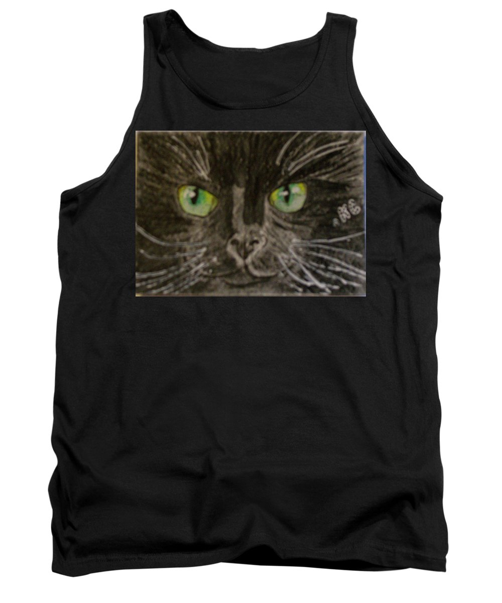 Halloween Tank Top featuring the painting Halloween Black Cat I by Kathy Marrs Chandler