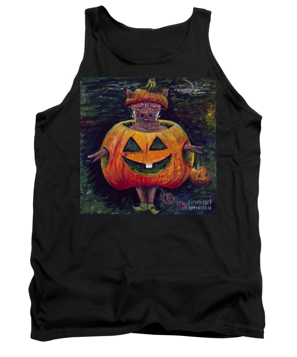 Halloween Tank Top featuring the painting Halloween Hog by Nadine Rippelmeyer
