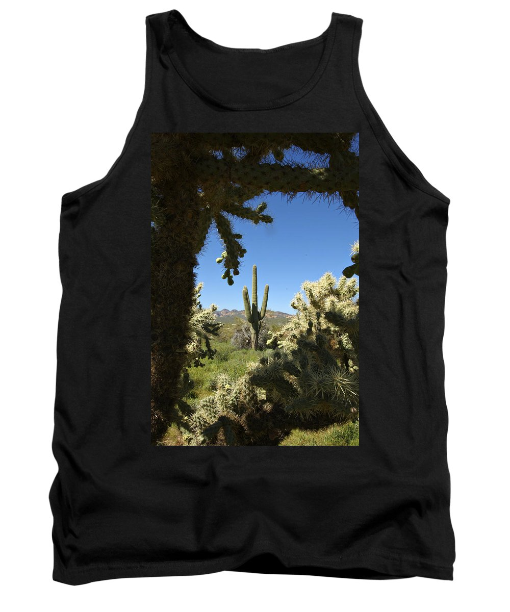 Saguaro Tank Top featuring the photograph Hands Up You're Surrounded by Jill Reger