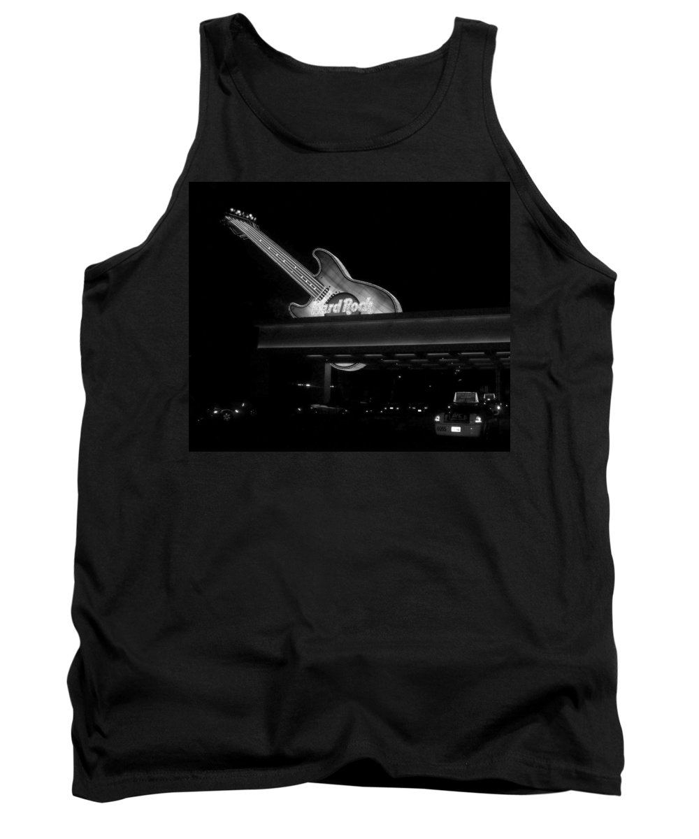 Vegas Tank Top featuring the photograph Hard Rock Cafe Sign 2 B-w by Anita Burgermeister