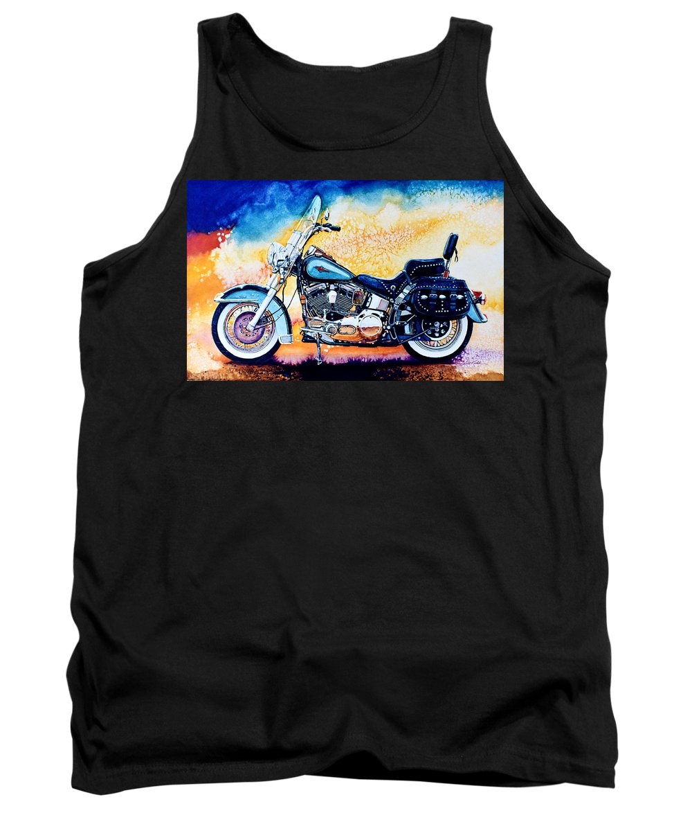 Heritage Softail Tank Top featuring the painting Harley Hog I by Hanne Lore Koehler