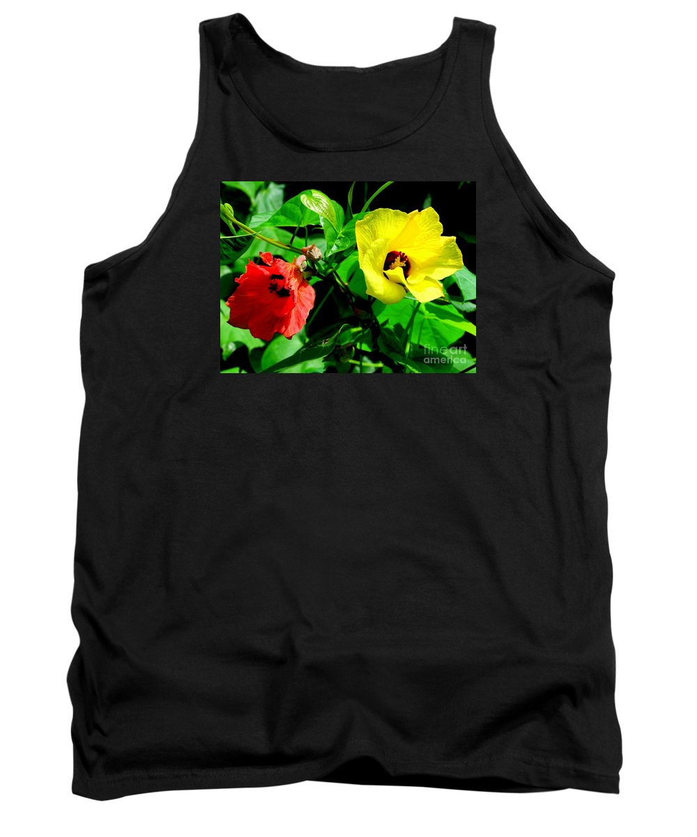 Red Tank Top featuring the photograph Hau Tree Blossoms by Mary Deal