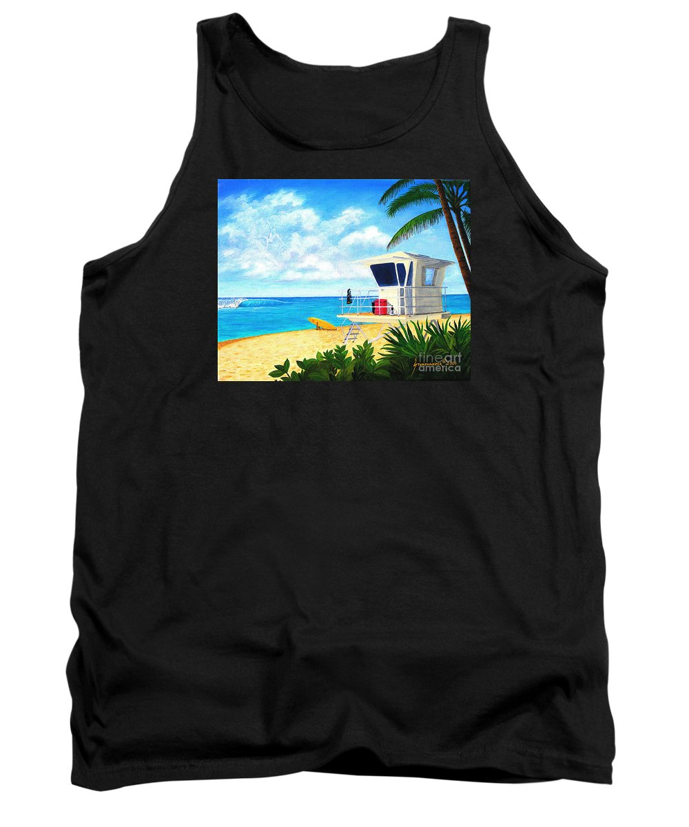 Hawaii Tank Top featuring the painting Hawaii North Shore Banzai Pipeline by Jerome Stumphauzer