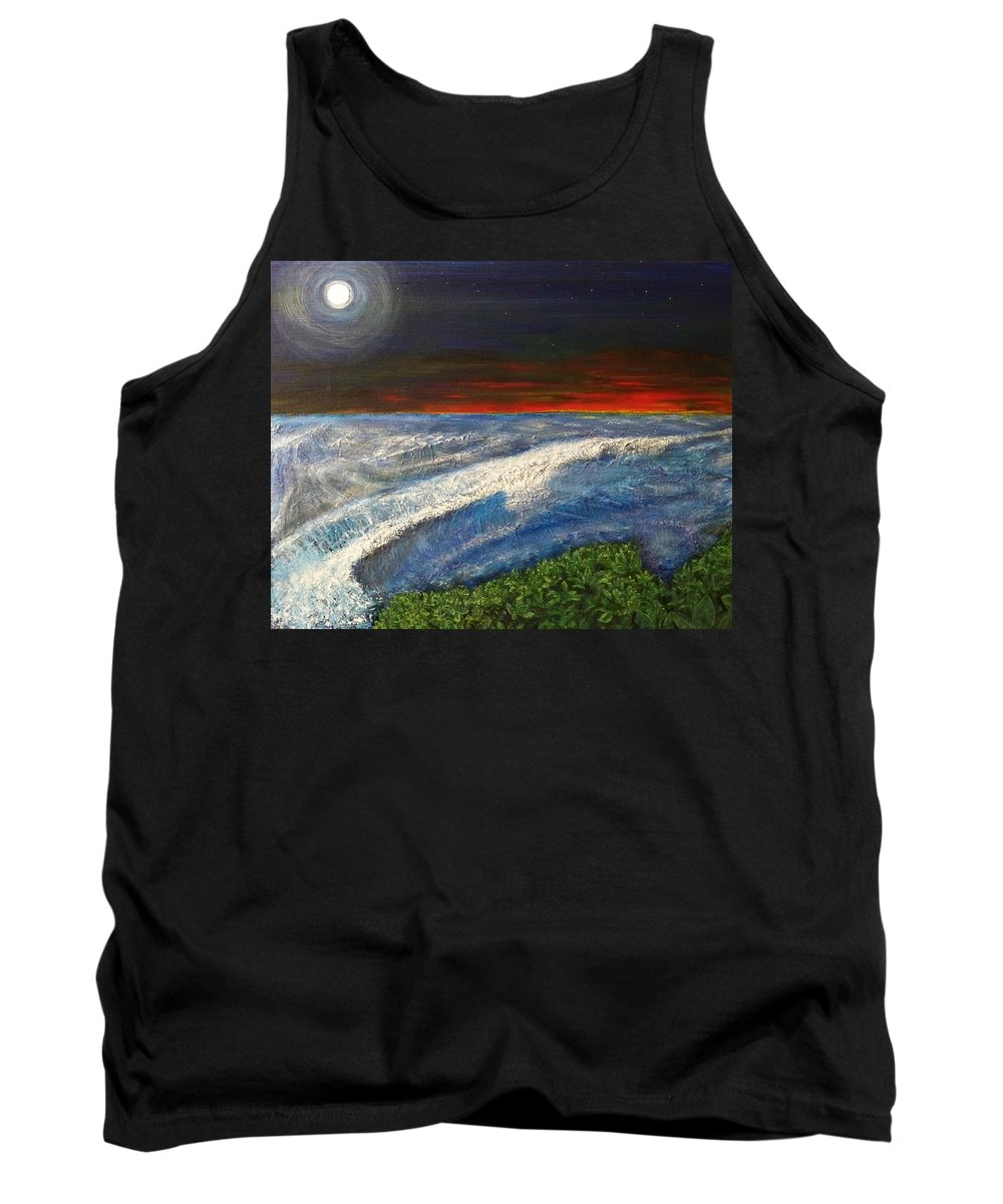 Beaches Tank Top featuring the painting Hawiian View by Michael Cuozzo