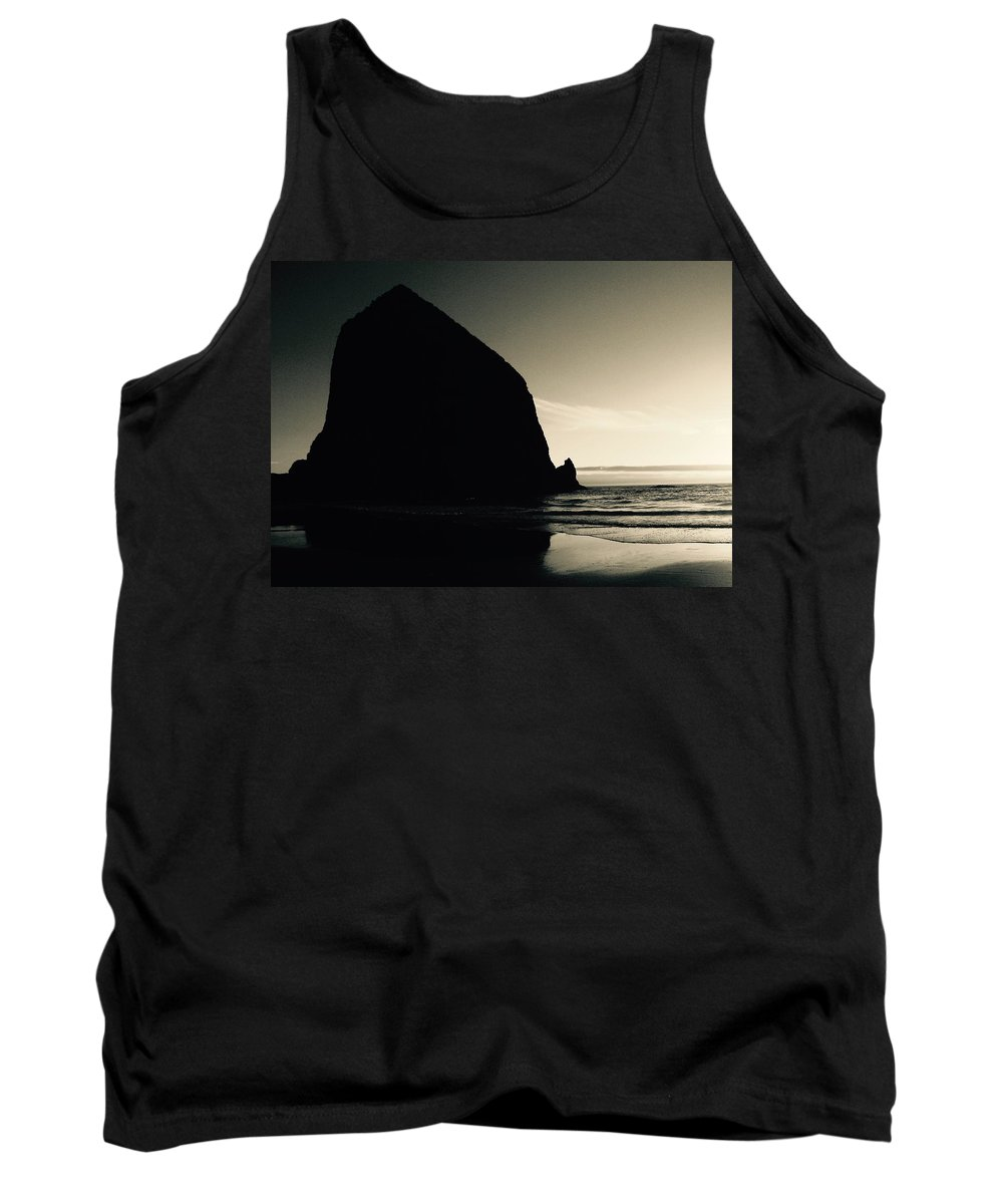 Haystack Rock Tank Top featuring the photograph Haystack At Dusk by David Coleman