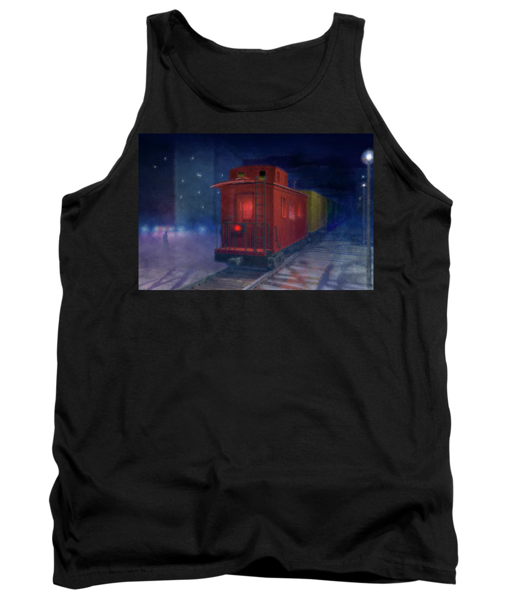 Alone Tank Top featuring the digital art Hear That Lonesome Whistle by Carol and Mike Werner