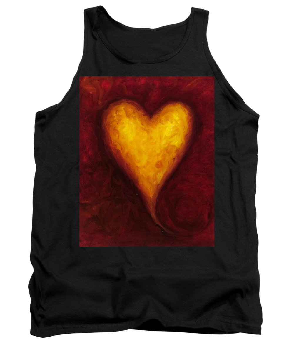 Heart Tank Top featuring the painting Heart Of Gold 1 by Shannon Grissom