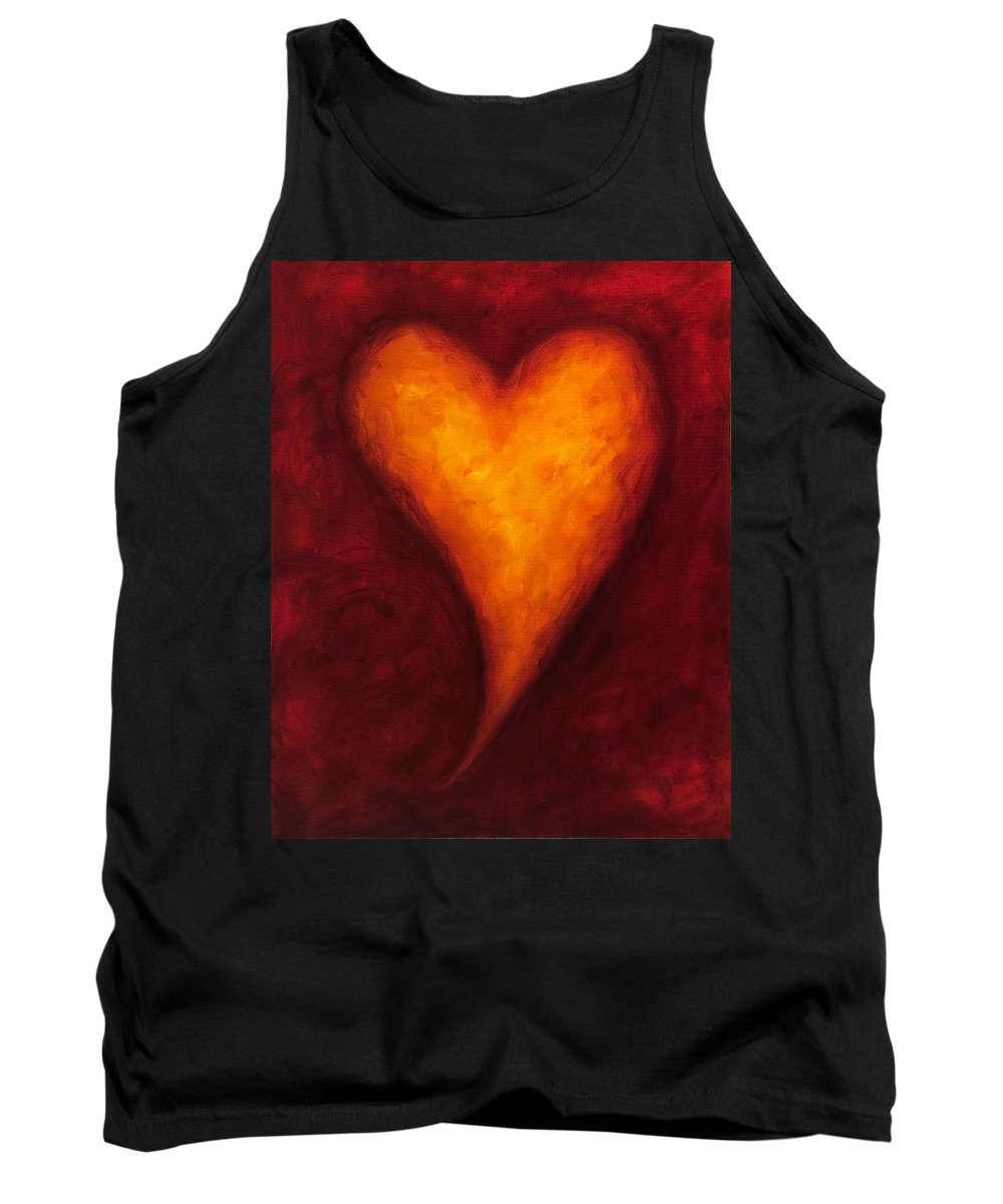 Heart Tank Top featuring the painting Heart Of Gold 2 by Shannon Grissom