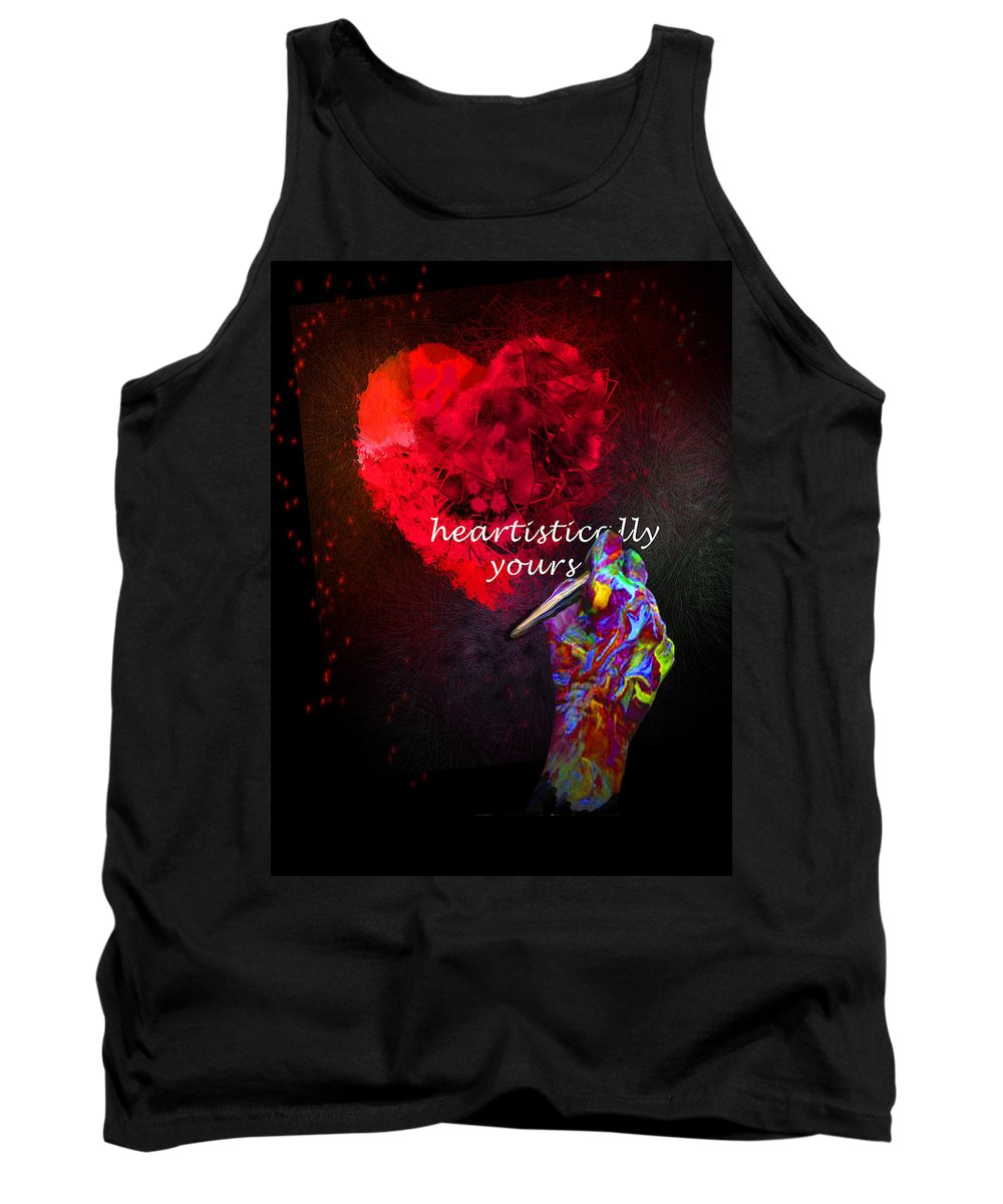 Valentine Tank Top featuring the painting Heartistically Yours by Miki De Goodaboom