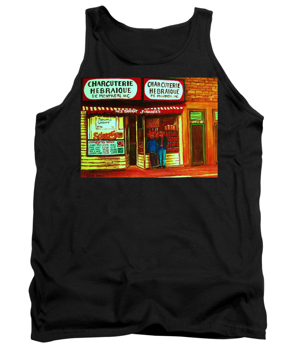 Schwartzs Tank Top featuring the painting Hebrew Delicatessen by Carole Spandau