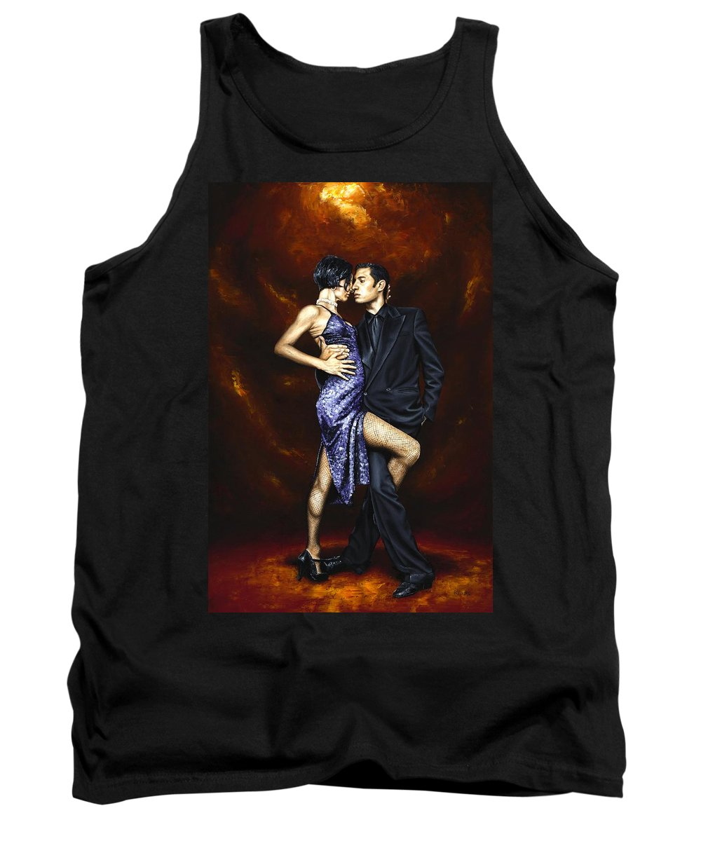 Tango Dancers Love Passion Female Male Woman Man Dance Tank Top featuring the painting Held In Tango by Richard Young