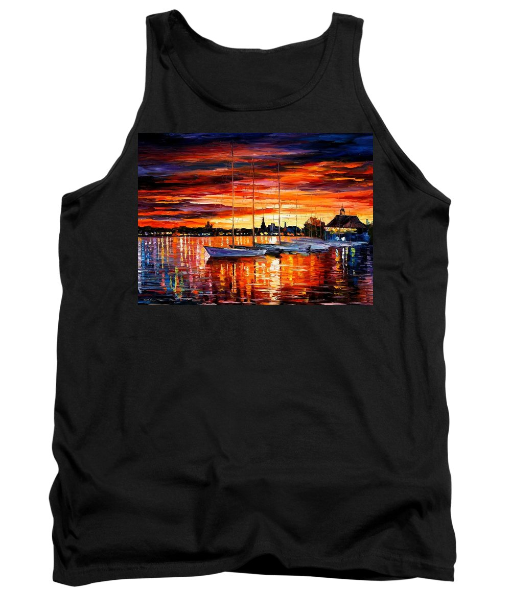 Afremov Tank Top featuring the painting Helsinki - Sailboats At Yacht Club by Leonid Afremov