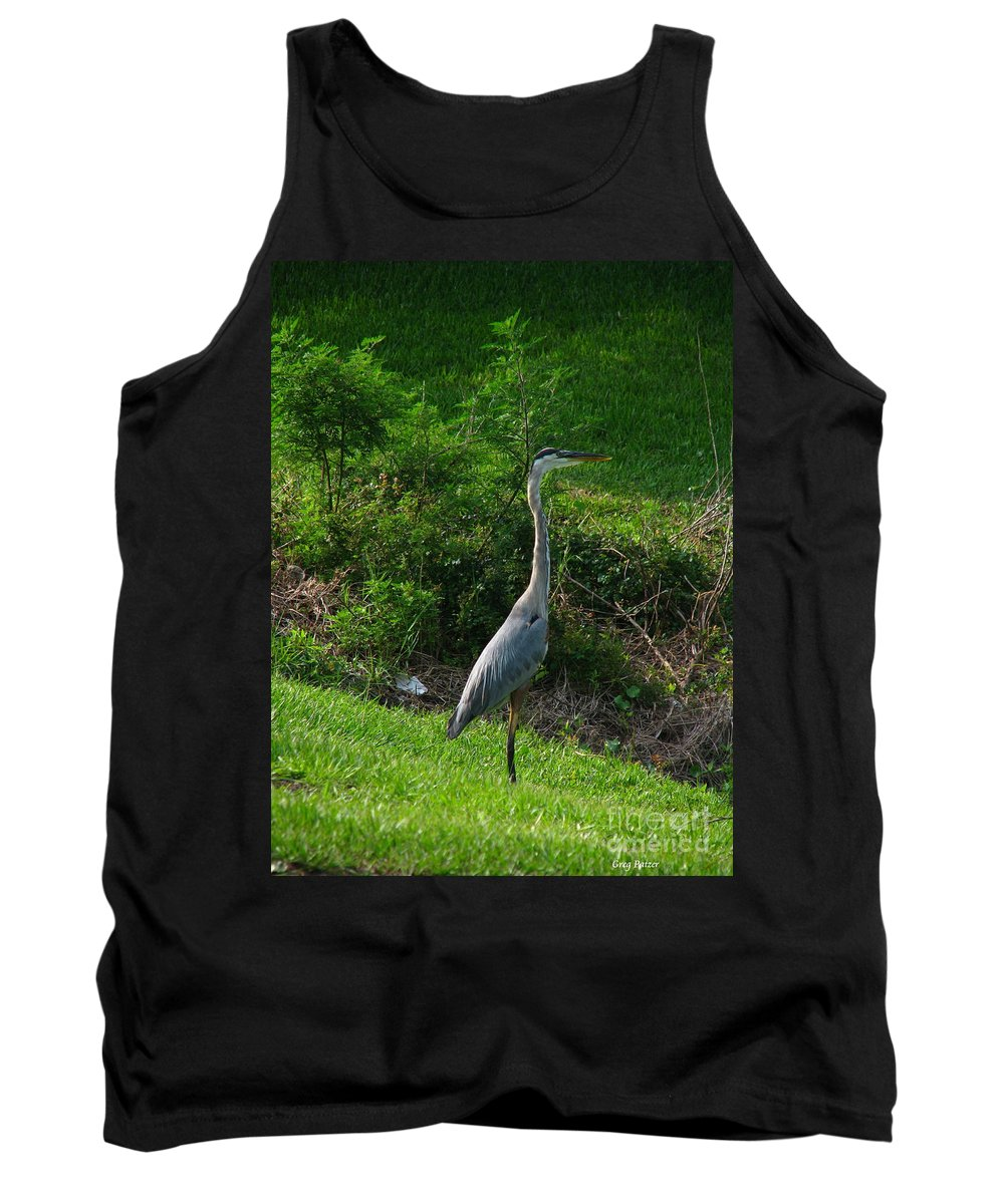 Patzer Tank Top featuring the photograph Heron Blue by Greg Patzer