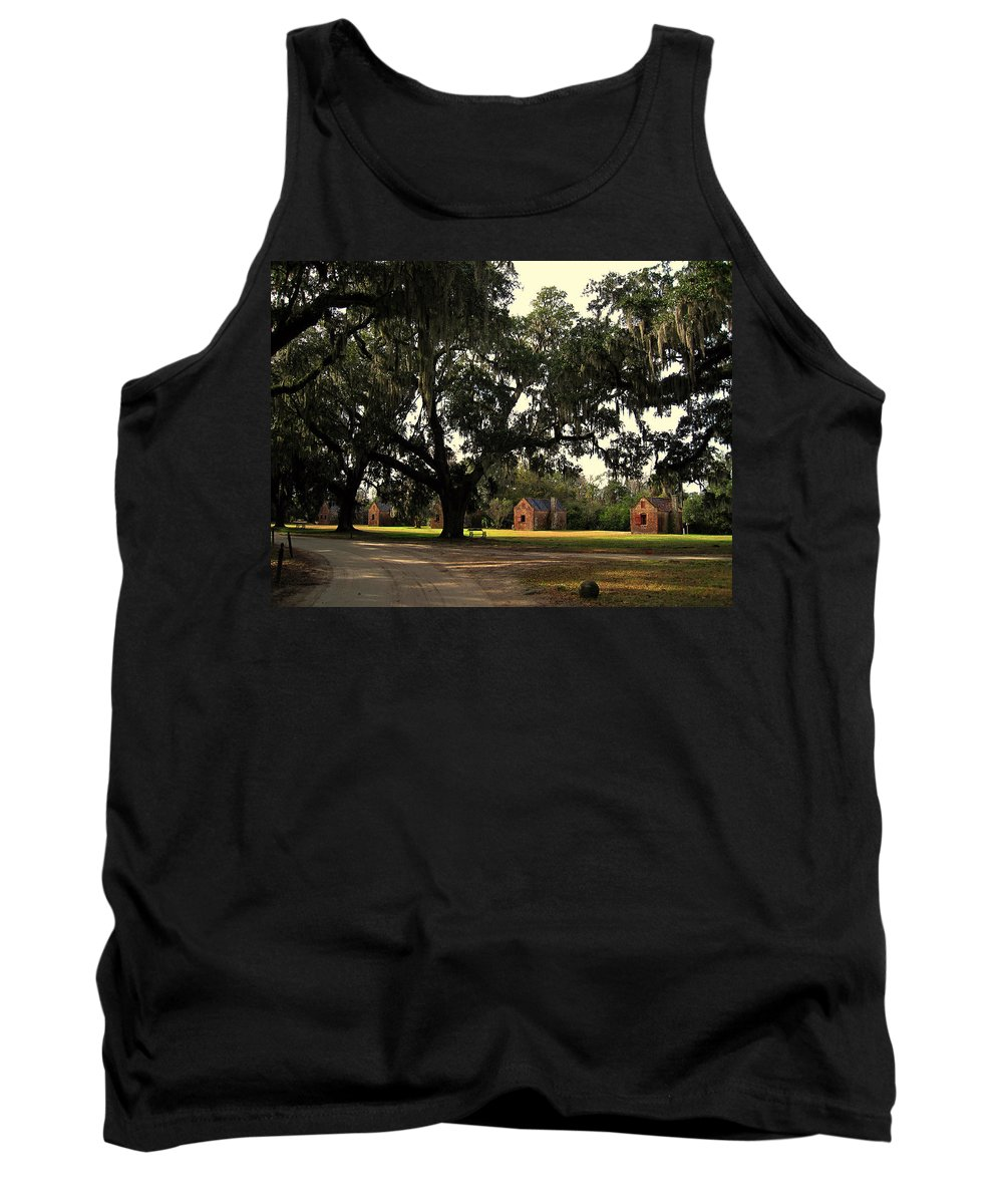 American History Tank Top featuring the photograph Historic Slave Houses At Boone Hall Plantation In Sc by Susanne Van Hulst