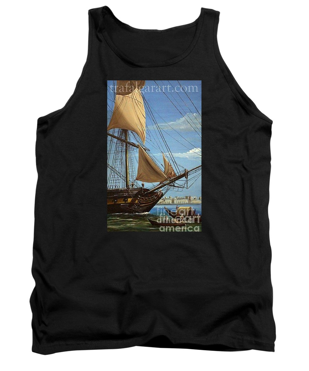 Battle Of Trafalgar Tank Top featuring the painting Hms Java Under Way At Cairo 1798 by Richard John Holden RA