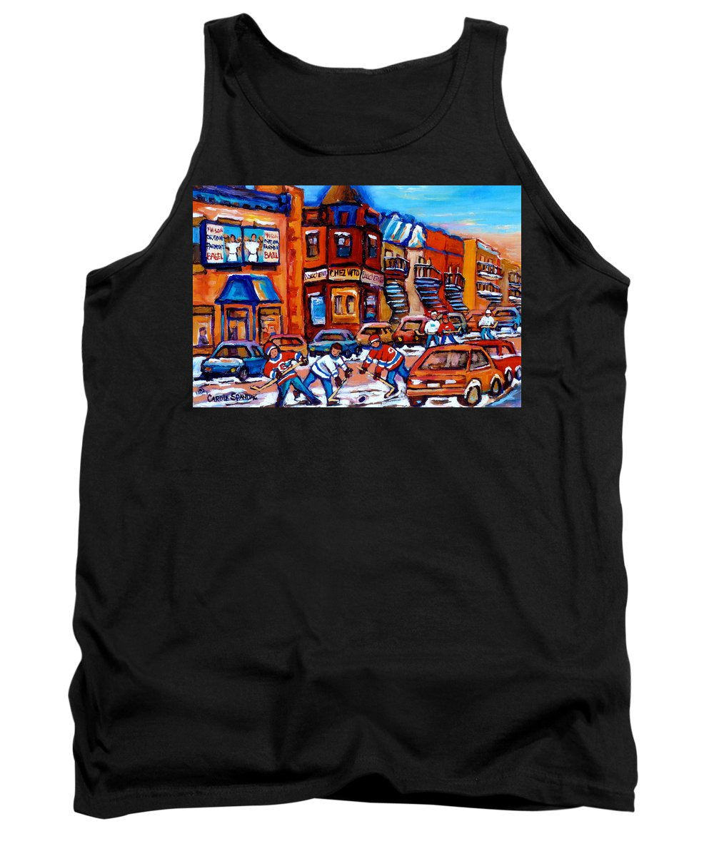 Fairmount Bagel Tank Top featuring the painting Hockey At Fairmount Bagel by Carole Spandau