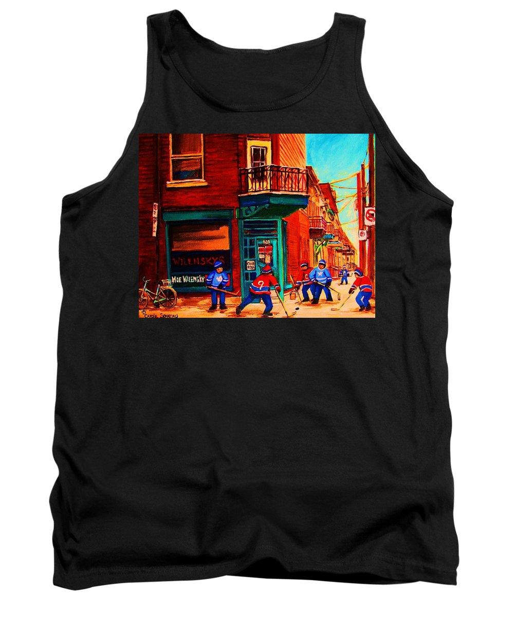 Wilenskys Tank Top featuring the painting Hockey At Wilenskys Corner by Carole Spandau