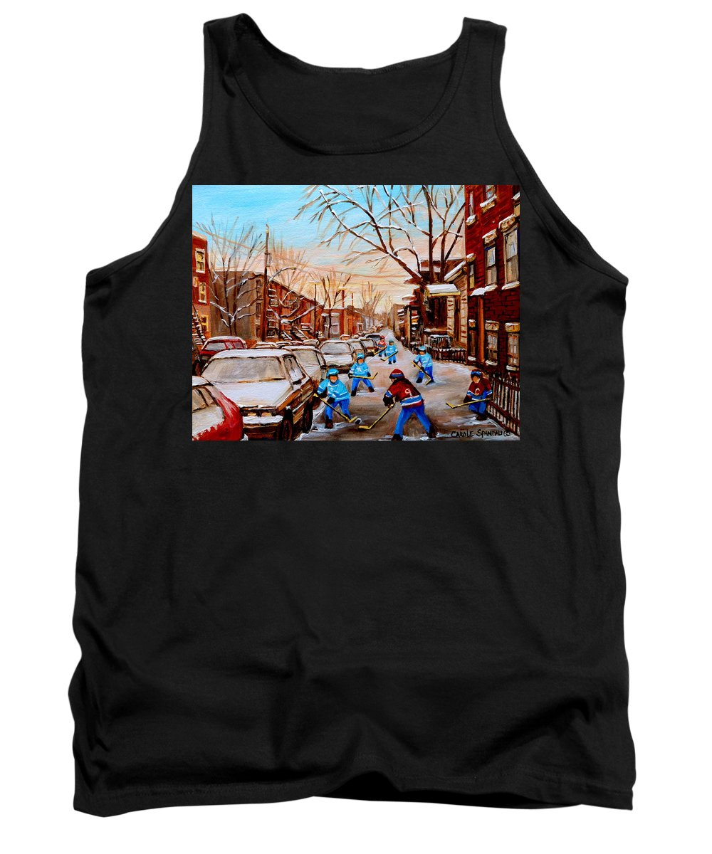 Montreal Tank Top featuring the painting Hockey Gameon Jeanne Mance Street Montreal by Carole Spandau