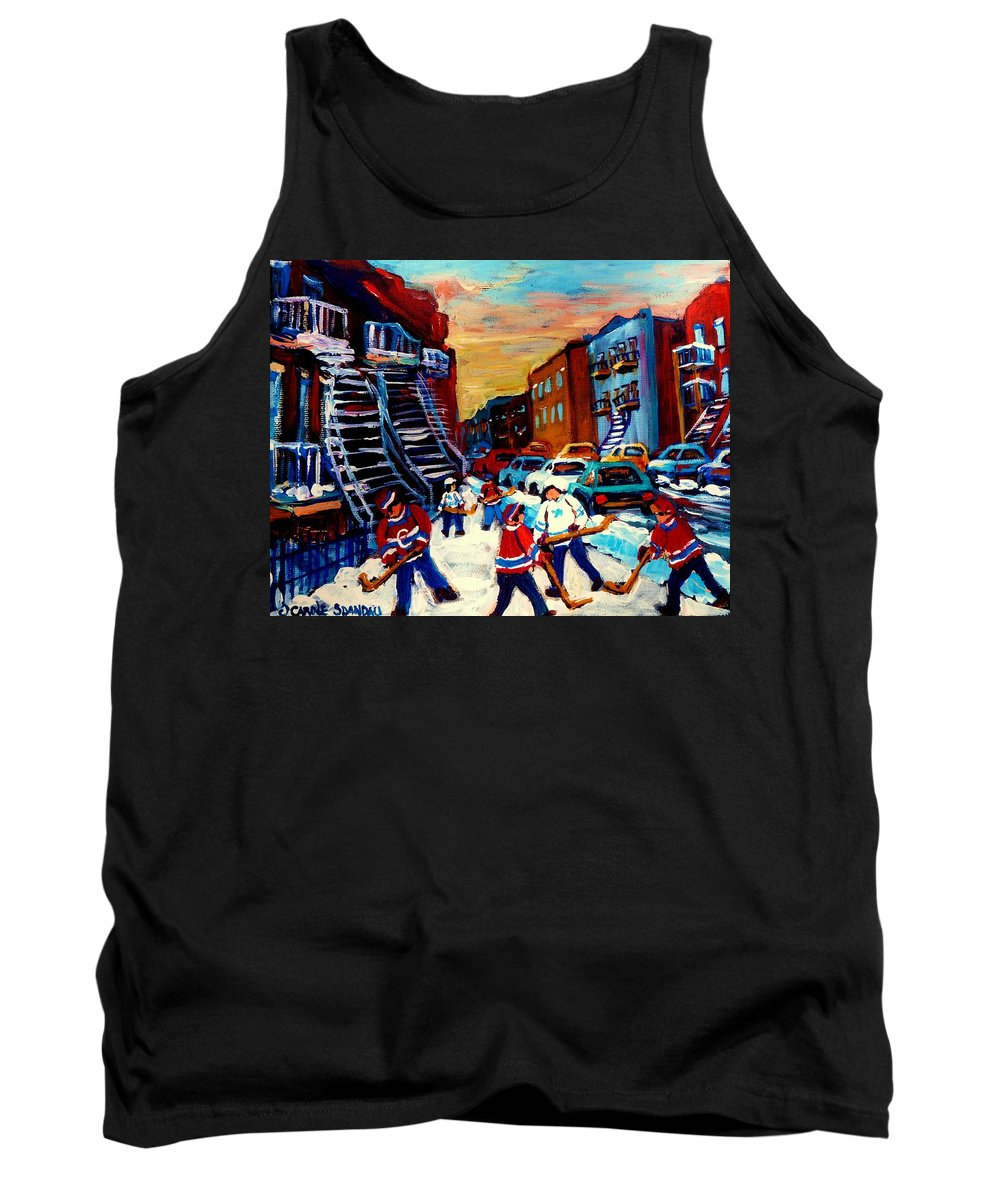 Montreal Tank Top featuring the painting Hockey Paintings Of Montreal St Urbain Street City Scenes by Carole Spandau