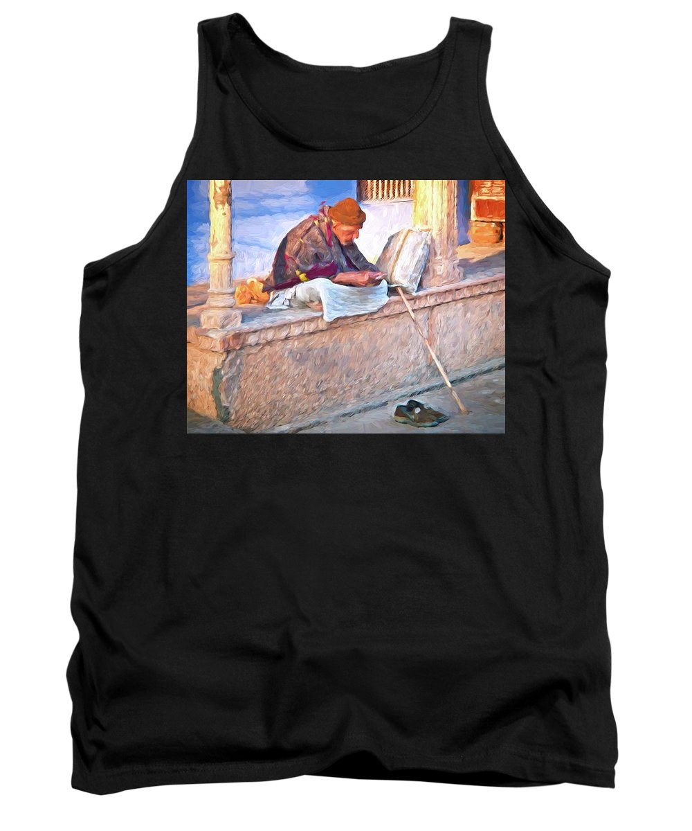 Abstract Tank Top featuring the photograph Homeless Man In India by Robert Kinser