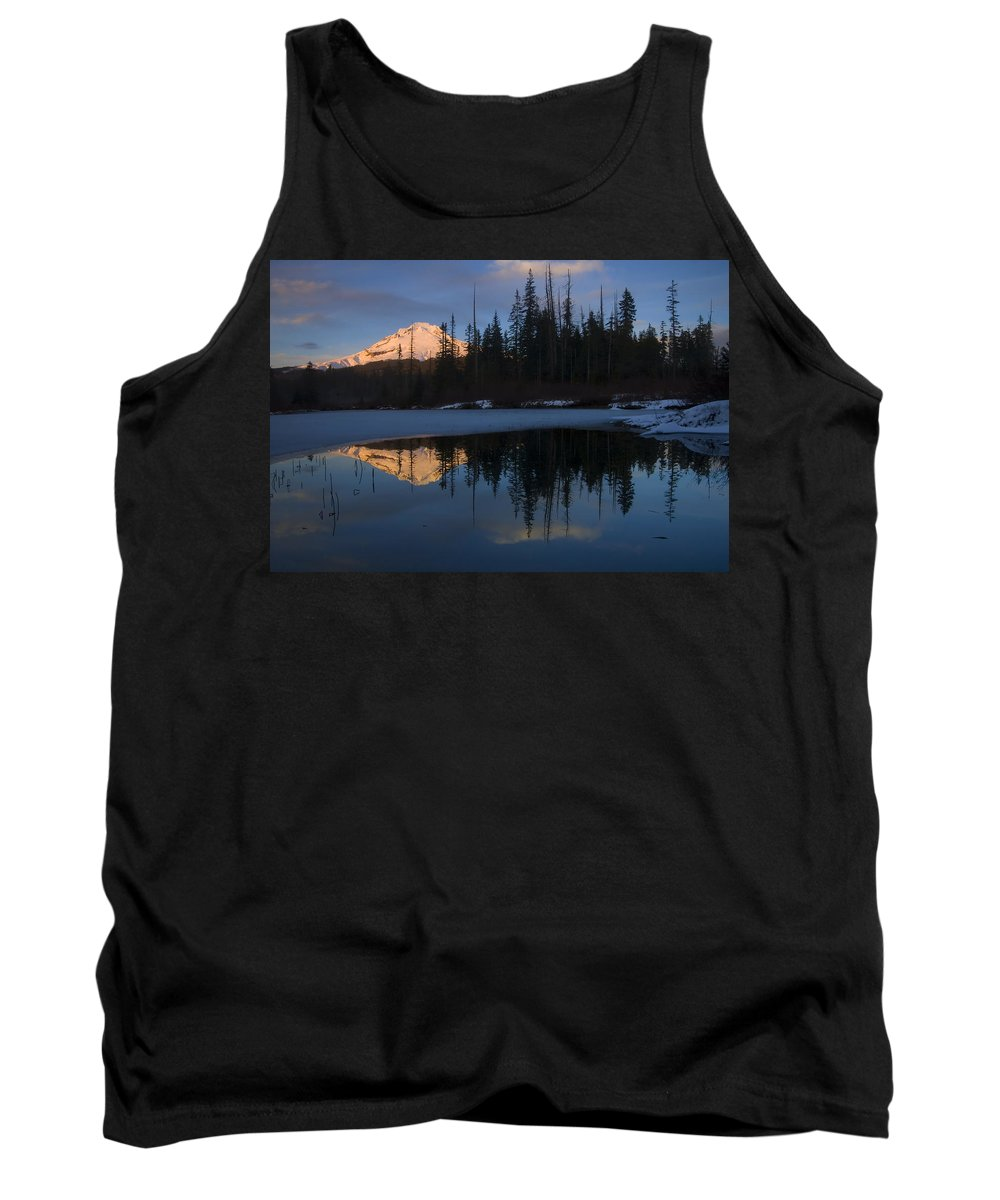 Mt. Hood Tank Top featuring the photograph Hood Alpenglow by Mike Dawson