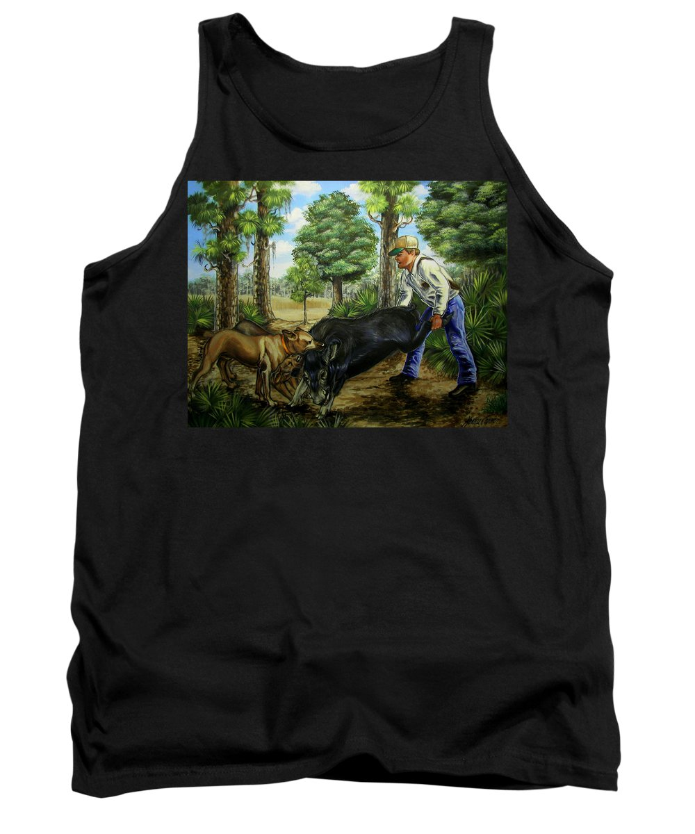 Hog Tank Top featuring the painting Horace's Hunt by Monica Turner