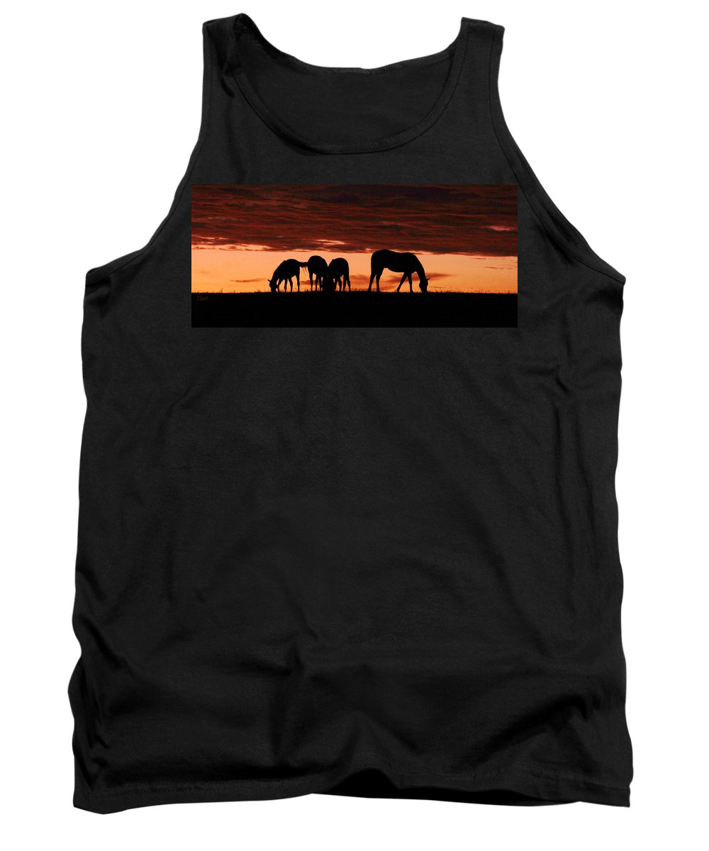 Horses Tank Top featuring the photograph Horses At Sunset by Tina Meador