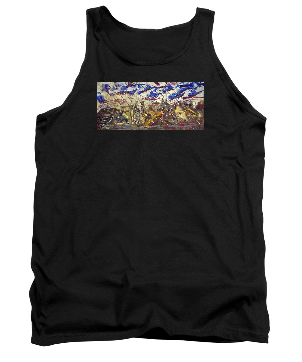 Abstract Painting Tank Top featuring the painting Spirit Of The Horses by J R Seymour