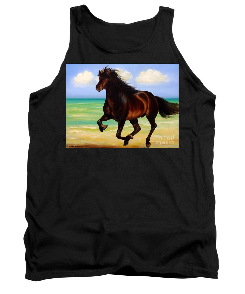 Horses Tank Top featuring the painting Horses In Paradise Run by Gina De Gorna