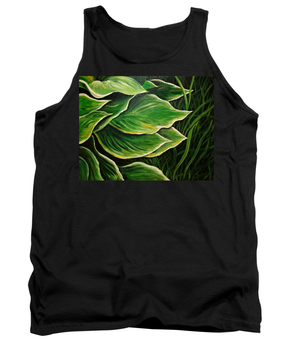 Hostas Tank Top featuring the painting Hostas And Grass Painting by Nancy Mueller