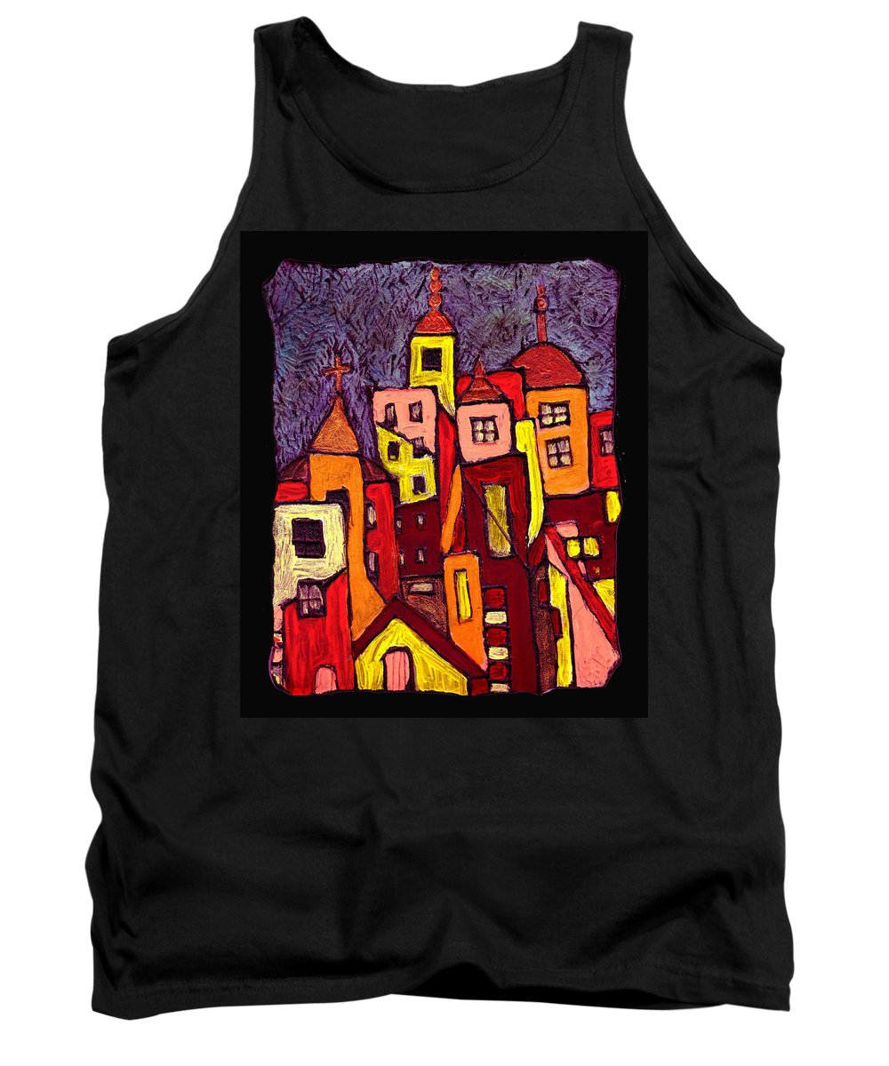 City Scapes Tank Top featuring the painting Hot Night In The City by Wayne Potrafka