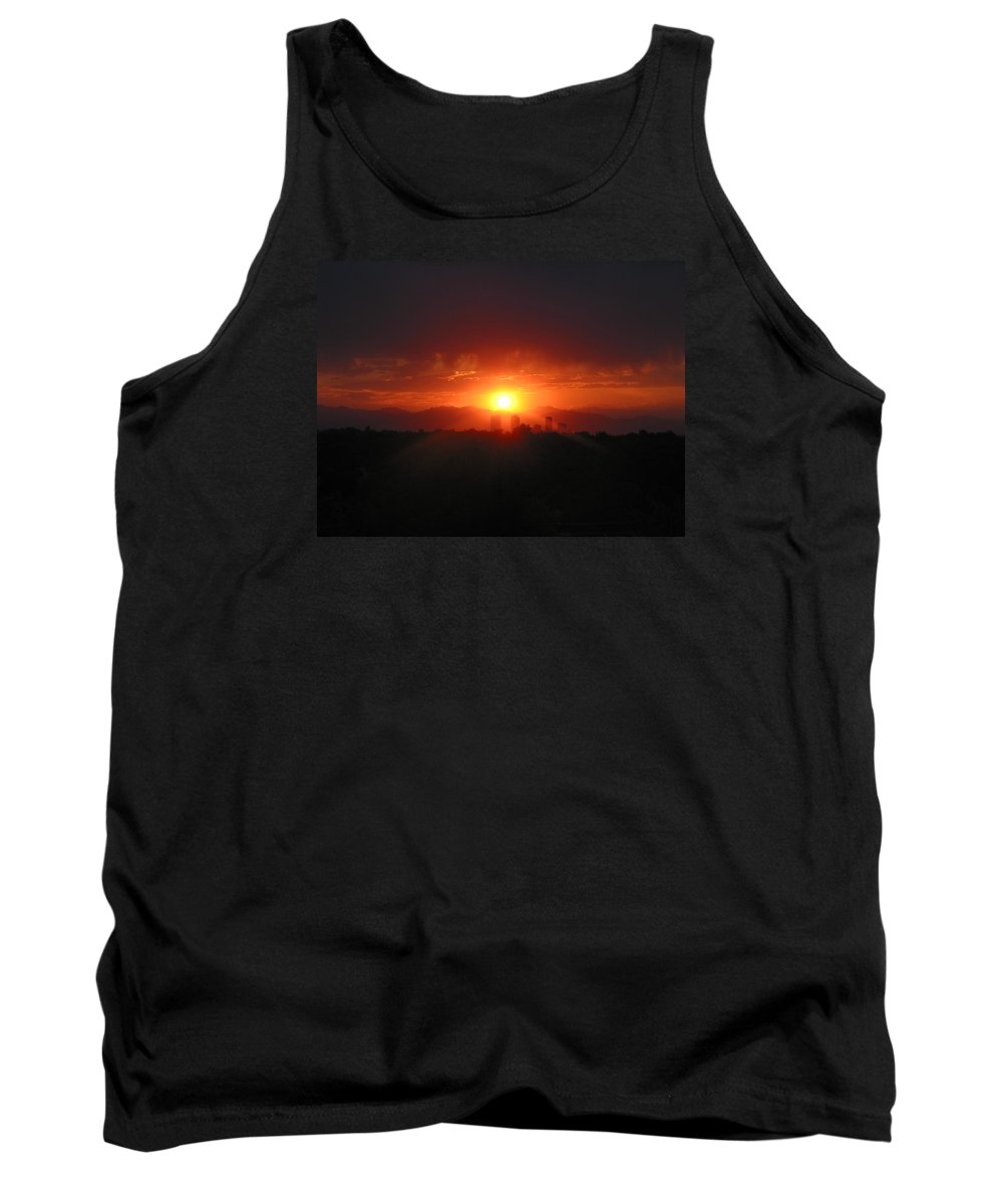 Sunset Tank Top featuring the photograph Hot Summer Night II Denver Co by Jacqueline Russell