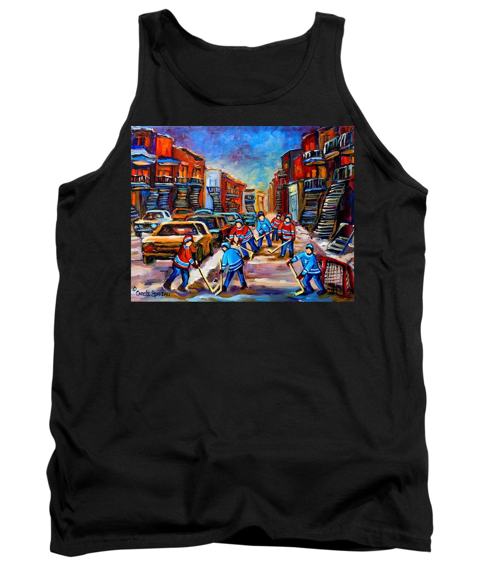 Montreal Tank Top featuring the painting Hotel De Ville Montreal Hockey Street Scene by Carole Spandau